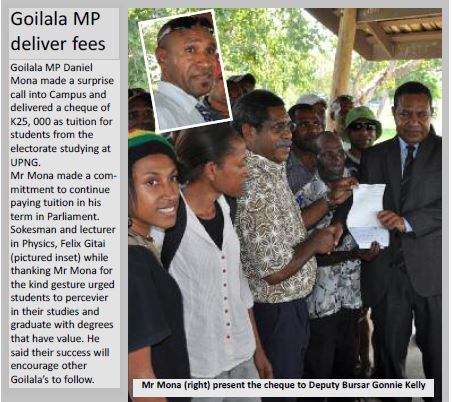 Goilala MP Delivers Fees - UPNG