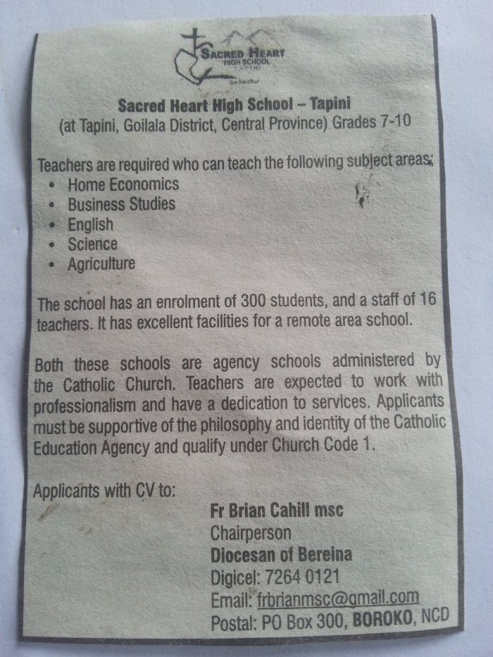 Teaching Vacancy - Tapini Sacred Heart High School - GOILALA DISTRICT