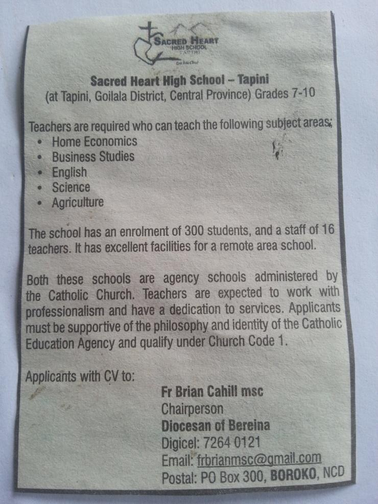 Teaching Vacancy – Tapini Sacred Heart High School – GOILALA