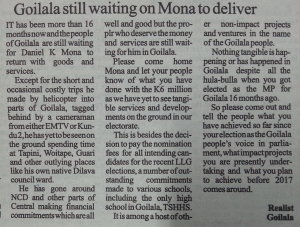 Goilala still waiting on Mona to Deliver.