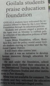Goilala Students praise education foundation.