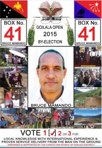 Candidate for Goilala Open in the By Election 2015