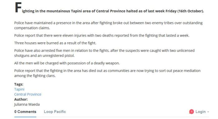 PNGLoop News Report Juliana Waeda says there is fights in Tapini - according to police reports