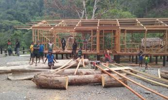 View of the 2nd classroom block under construction