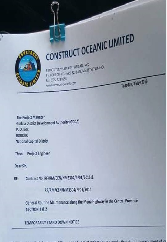 Contruct Oceanic Limited - STOP WORK!