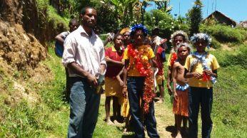 Camilo Kopa and his students at Tanipai