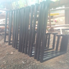 Desk frames at Muddybark base - Lae