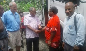 Biship Rochus Tamatai handed the key to the school truck