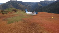SIL Light aircraft on the ground in Sopu Airstrip