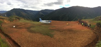 SIL Aircraft landed on Sopu Airstrip for test runs. Engaged by Rural Airstrip Agency PNG Ltd - Goilala