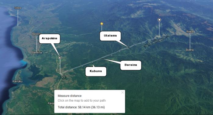 Distance - Arapokina - Tapini HighWway