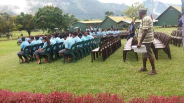 Students Assembled - Tapini Sacred Heard Secondary High School, Goilala